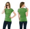 Young brunette woman with blank green shirt photo of a adult female posing a front and back views ready for your artwork or Stock Photography