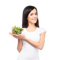 Young brunette woman holding a fresh salad Royalty Free Stock Photo