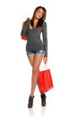 Young Brunette Woman with shopping bags Stock Images