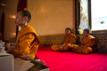 Young buddhist monks wat traimitr bangkok thailand Royalty Free Stock Photography