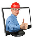 Young builder showing thumb up Royalty Free Stock Images