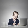 Young business boy with computer Royalty Free Stock Photo