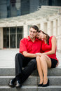 Young business couple in love lifestyle photo of people dating womans head on mans shoulder Stock Images