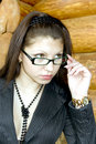 Young business lady in glasses Royalty Free Stock Image