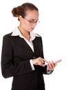 Young business lady with smart phone Royalty Free Stock Image