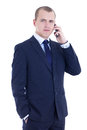 Young business man calling on the cell phone isolated on white background Stock Images