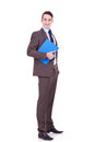 Young business man with clipboard Royalty Free Stock Image