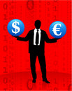 Young business man with currency symbols Stock Photography