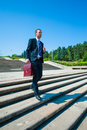 Young business man in dark suit Royalty Free Stock Photo