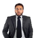 Young business man with an expression of fear Royalty Free Stock Photo