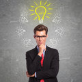 Man surrounded with ideas Royalty Free Stock Photo