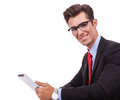 Young business man holding tablet pad Royalty Free Stock Photo