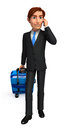 Young Business man with traveling bag Royalty Free Stock Photo