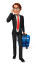 Young business man with traveling bag d rendered illustration of Royalty Free Stock Photo
