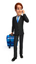 Young business man with traveling bag d rendered illustration of Royalty Free Stock Photos