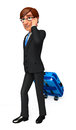 Young business man with traveling bag d rendered illustration of Stock Photography