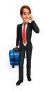 Young business man with traveling bag d rendered illustration of Stock Image