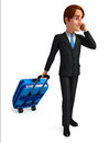 Young business man with traveling bag d rendered illustration of Royalty Free Stock Image
