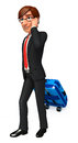 Young business man with traveling bag d rendered illustration of Royalty Free Stock Photography