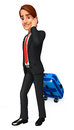 Young business man with traveling bag d rendered illustration of Stock Photos