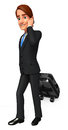 Young business man with traveling bag d rendered illustration of Royalty Free Stock Images