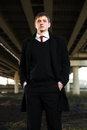 Young business man under highway road intersection handsome Royalty Free Stock Photos