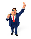 Young business man with victory sign d rendered illustration of Stock Photography
