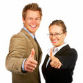 Young business man and woman showing success sign Stock Photos