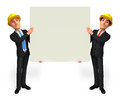 Young business men with sign d rendered illustration of man Stock Photography