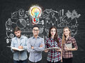 Young business team and bright idea Royalty Free Stock Photo