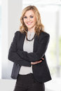 Young business woman with arms crossed, smile Royalty Free Stock Photo