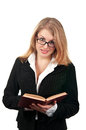 Young business woman with book Royalty Free Stock Photo