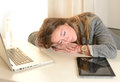 Young business woman boring at work tired frustrated Royalty Free Stock Photography