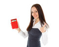 Young business woman with calculator stands on a white background Stock Photos