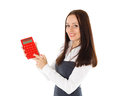 Young business woman with calculator stands on a white background Stock Image