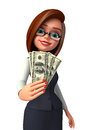 Young business woman with dollars d rendered illustration of Stock Photos