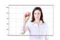 Young business woman drawing on empty graph white background Royalty Free Stock Images