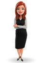 Young business woman with folded hands illustration of Royalty Free Stock Photos