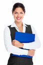 Young business woman with folder portrait of happy isolated on white background Royalty Free Stock Image