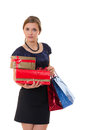 Young business woman with gifts Royalty Free Stock Image