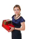 Young business woman with gifts Royalty Free Stock Photo