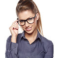 Young business woman with glasses Stock Photos