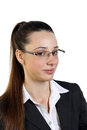 Young business woman in glasses beautiful white background Royalty Free Stock Photo