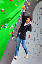 Young business woman hanging at wall, beautiful girl Royalty Free Stock Photo