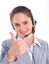 Young business woman with headset portrait of beautiful call center customer support helpdesk Royalty Free Stock Photos