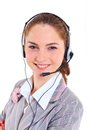 Young business woman with headset portrait of beautiful call center customer support helpdesk Stock Images