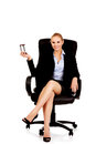 Young business woman holding a hourglass Royalty Free Stock Photo