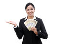 Young business woman holding indian currency notes happy Stock Photos