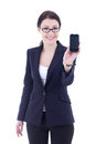 Young business woman holding mobile phone with copyspace isolate Stock Image