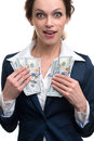 Young business woman holding money isolated over white Stock Photo